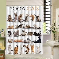 [globalbuy] Cute Animal Yoga Cats Shower Curtain High Qulity Polyester Fabric Design Water/4618127