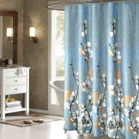 [globalbuy] Brand New Thicken Polyester Bathroom Curtain Luxury Mangnolia Printing Mould-R/4617884