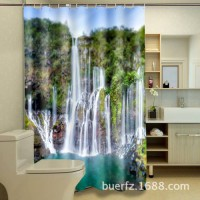 [globalbuy] Polyester Waterproof Washable Bath Curtain Waterfall Landscapes printed Mildew/4617872
