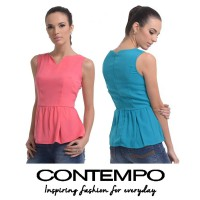 CONTEMPO WOMEN BLOUSE 2 COLOUR POLYESTER A1114K08-J31
