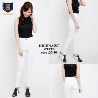 DF - Celana Jeans High Waist White Size 28 - 30