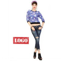 Logo Jeans - Flower Rib Blue Long Sleeves Shirt
