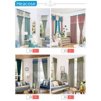 [globalbuy] 3M chenille printed stitched window curtain 4 style europe stripe bedroom livi/4615728