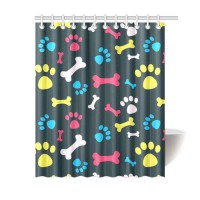 [globalbuy] Waterproof 3D Thicken Polyester Fabric Bathroom Curtain-Dog Paw And Bone Showe/4491262
