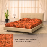 Seprei Double Bunga Orange 160x200cm