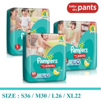 P&G Pampers Popok Baby Dry Pants S36 / M30 / L26 / XL22