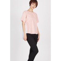 VL Stripe and Bow Blouse Pink