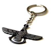 [poledit] Black Farvahar Key Chain - Achaemenid Empire - Cyrus The Great - Ancient God Per/5130701
