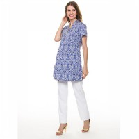 CONTEMPO WOMEN TUNIC S/S BLUE A1116E01-C36