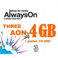 Perdana Three (3) Always On (AON) kuota 4GB + Pulsa sesama 10.000