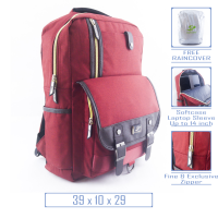 Fortune 3F100051- Tas Ransel Backpack Bodypack Case Laptop Pria Wanita Fashion Import Original Merah