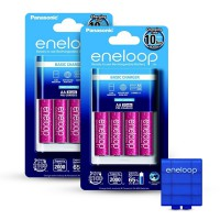 Panasonic Eneloop Basic Battery Charger + 4 AA Eneloop Glitter - Free Battery Case