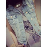 Blue Ripped Denim Vest (size M,L)