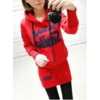 Hoody Sweater Dress (RED, GREY size M,L) -12585