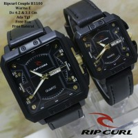 Jam Tangan Pasangan / Couple Murah Ripcurl Dalton Black Gold + Box