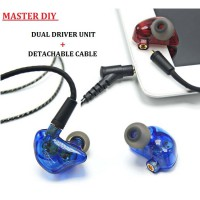 Master DIY Earphone Dual Driver Unit +Detachable Cable High Resolution