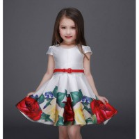 Dress Anak Perempuan Flower Satin With Belt 2-8Y | PDR276