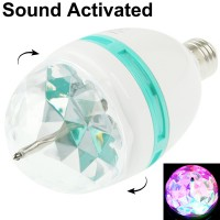E27 3W Colorful Light Sound Activated LED Rotating Lamp Light Bulb, AC 85-260V