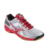 SEPATU VOLLEY/VOLI FOOTWEAR MIZUNO WAVE TWISTER 4 - SILVER / CHINESE RED / BLACK V1GA157059