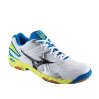 SEPATU VOLLEY/BADMINTON MIZUNO WAVE TWISTER 4 - WHITE / BLACK / ELECTRIC BLUE LEMON V1GA157008