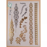 VT319/New 2016 Waterproof metallic gold and silver flash temporary henna tattoo sticker