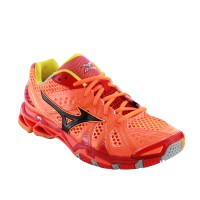 SEPATU VOLLEY/BADMINTON MIZUNO WAVE TORNADO 9 - NEON ORANGE / BLACK / CHINESE RED V1GA141098