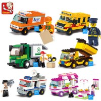 [globalbuy] New Original Sluban Building Blocks City House Snack Car TV Express PoliceTruc/4476871