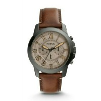 Jam Tangan Fossil FS-5214 Pria Grant Chronograph Dark Brown Leather Original Warranty Two Year