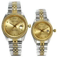 Christ Verra Jam Tangan Couple Silver Gold Stainless Steel 72022G-13&72022L-13
