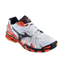 SEPATU VOLLEY/BADMINTON MIZUNO WAVE TORNADO 9 - WHITE / DRESS BLUES / VIBRANT ORANGE V1GA141215