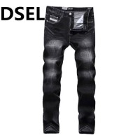 [globalbuy] Slim Fit Denim Black Jeans Men Trousers Designer Logo Dsel Brand Mens Stretch /4137987