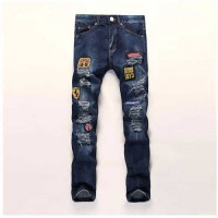[globalbuy] Personality Style Men Badge Denim Jeans hight quality Masculina Slim Pants Fas/4137451