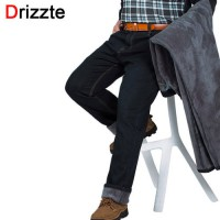 [globalbuy] Drizzte Plus Size 30-48 Jeans Winter Thicken Thermal Fleece Lined Stretch Deni/4137249