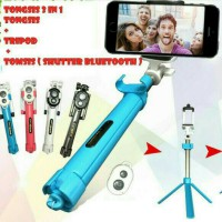 Tongsis 3 In 1 / Tripod + Tomsis Bluetooh / Selfie Stick