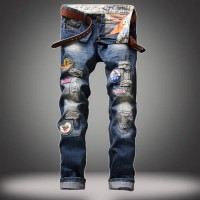 [globalbuy] European and American fashion badge Slim Straight moto jeans homme brand mens /4136413