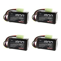 [poledit] Venom RC Venom 20C 3S 1800mAh 11.1V LiPO with Mini Tamiya Plug 4 Packs/13490329