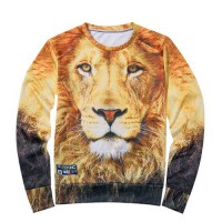 [globalbuy] The 3 d printing fleece autumn new men Evening trees/paint/The lion/star tiger/4068593