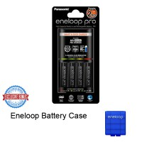 Panasonic Eneloop Quick Charger + Battery Eneloop Pro AA 2500mAH 4 Pcs - Free Battery Case