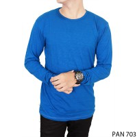 Long Sleeve Distro Tshirts Katun Biru – PAN 703