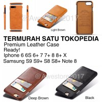Leather Case Card Slot Casing Kulit Iphone 6/6S/6Plus/7