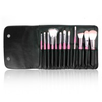 [FLALIA] 12PCS MAKEUP BRUSH SET with LEATHER POUCH - ELEGANT AND ON THE GO BEAUTY! 100% ORIGINAL