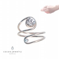 cocoa jewelry Cincin Wanita Korea - Spiral Clear Diamond Varian - No Box