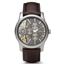 Fossil Mechanical Twist Brown Leather Watch, ME 1098