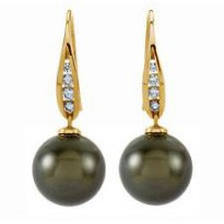 Anting Tahitian Black Pearl Dangling Earrings