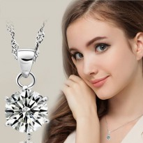 Kalung Big Round 3 Carat CZ Diamond Solitaire White Gold Plated