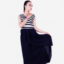 Maxi Dress Navy - White (babushka)