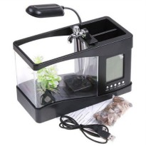 USB Desktop Aquarium Mini Fish Tank with Running Water - Akuarium Mini with LCD Display