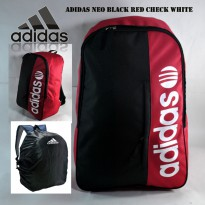 Tas Ransel Adidas NEO Black Red Check White Free Rrain Cover