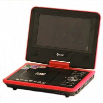 GMC DVD Video Player TV 11' DIVX-808Y Portable - Merah-Hitam