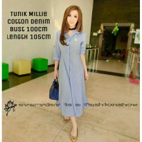 TUNIK MILIE CAN BAHAN KATUN DENIM FIT TO L BESAR LD100